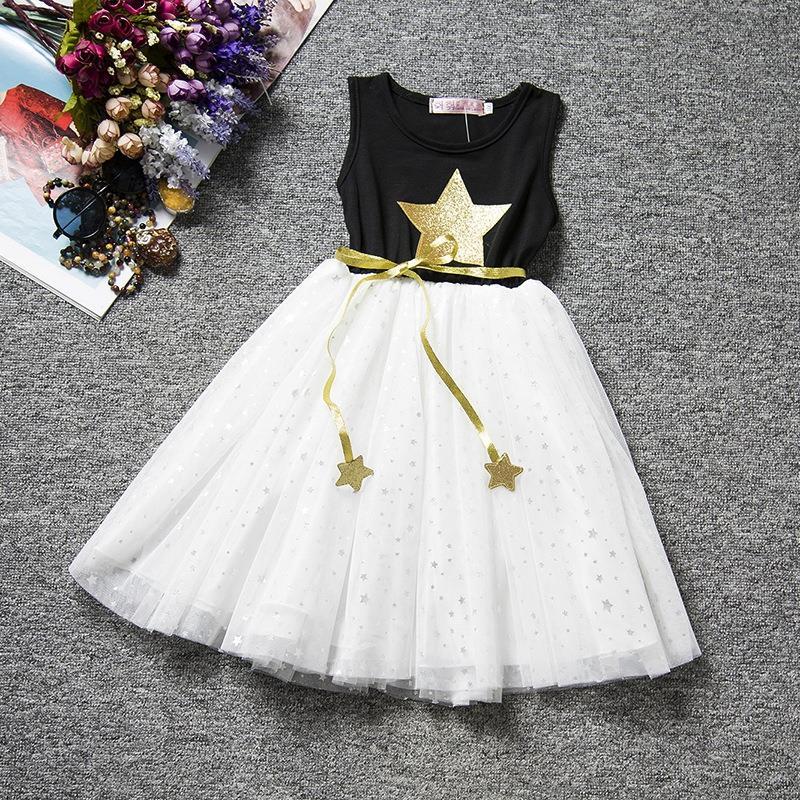 2016 Retail summer dress Sleeveless children Clothing lace girls dress star Cute sweet Baby Kids pretty Dresses Party dess A1036(China (Mainland))