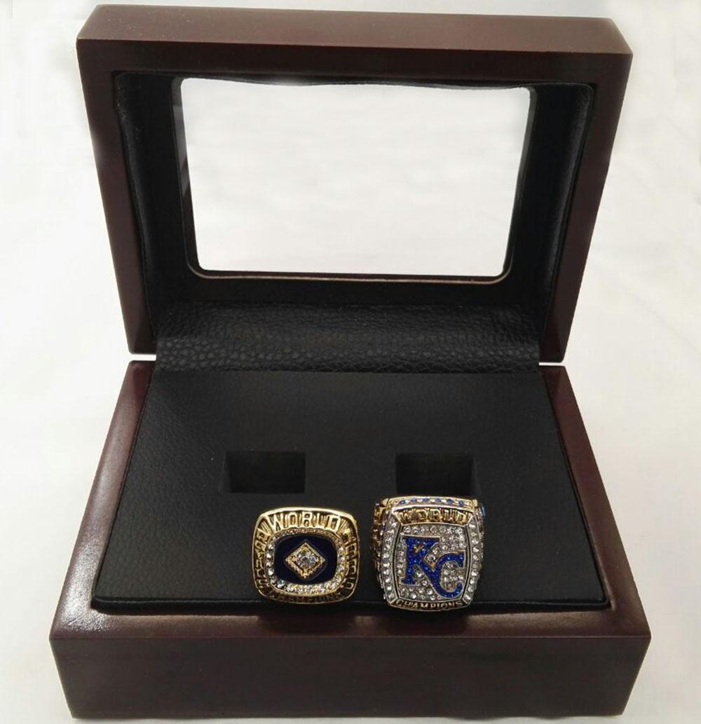 Alloy Rings Sets for Replica 1985/2015 Kansas City Royals Major League Baseball Championship Ring With Wooden Boxes(China (Mainland))