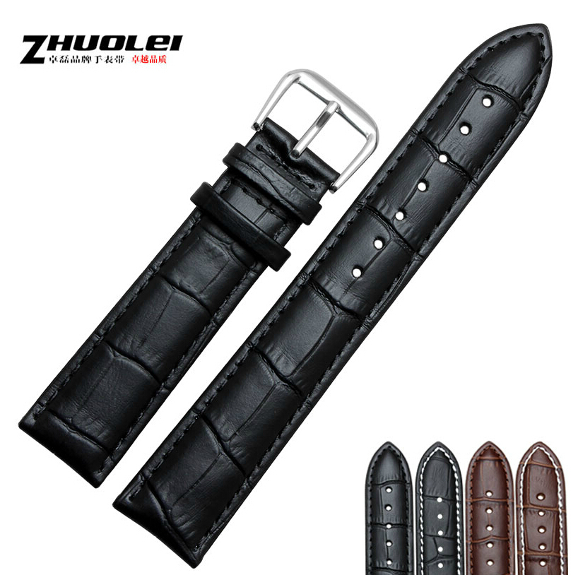 18mm 19mm 20mm 21mm 22mm 23mm 24mm NEW Quality Unisex Genuine Leather Black Brown WristWatch Bands Womens Mens<br><br>Aliexpress
