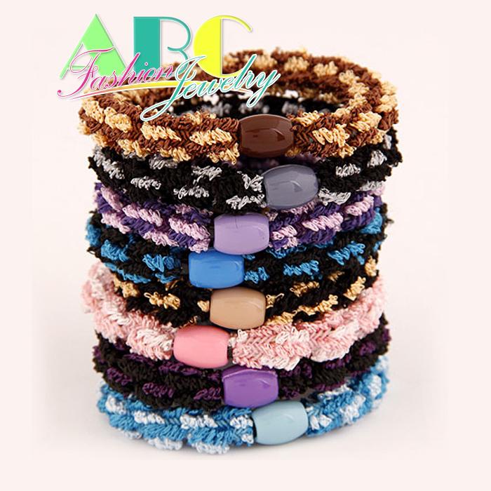 2014 New 3 piece sets Korean fashion fold fabric elastic rubber band hair rope head / hair band (random color)(China (Mainland))