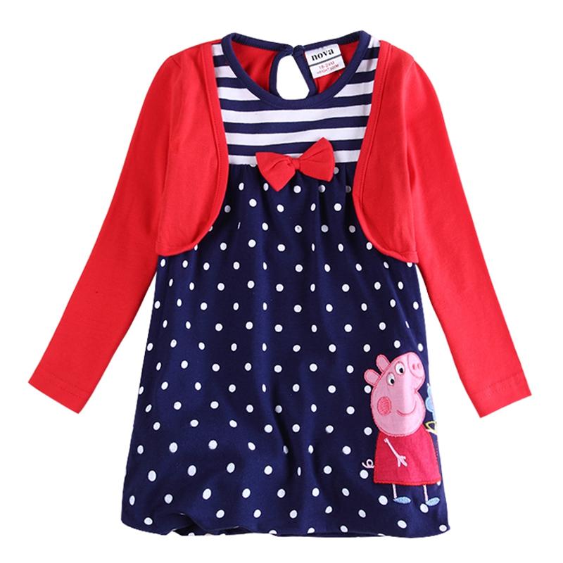 girls dresses 2016 girls clothes princess dress for girls dots long sleeve cartoon peppa embroidery pig nova kids clothing H4351(China (Mainland))
