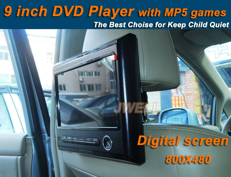 2014 hot 9 inch Digital screen car headrest DVD player,car monitor with MP5 & Games easy install hot !(China (Mainland))