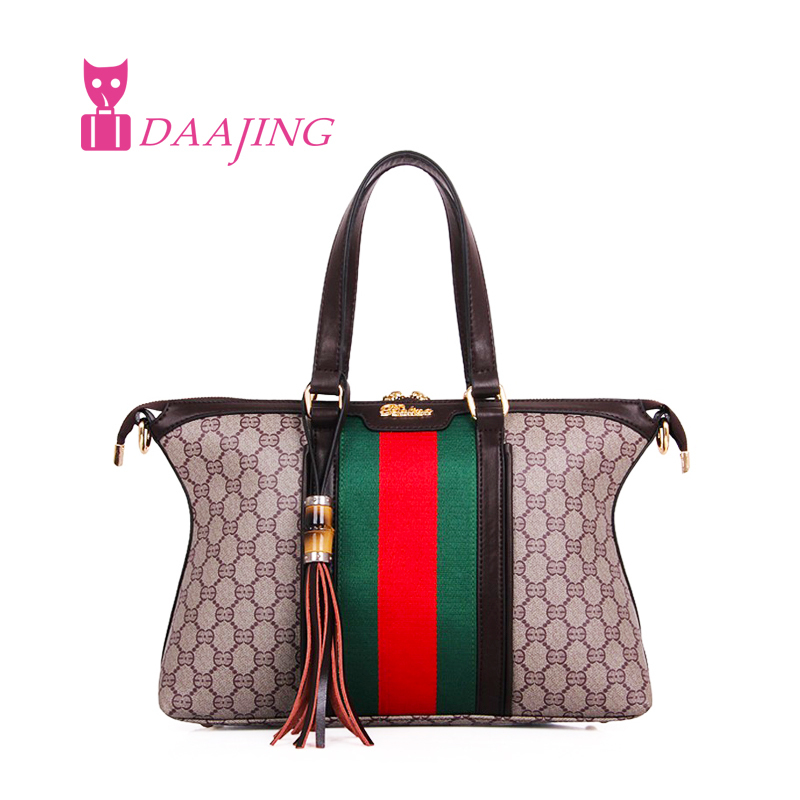 Hot New Fashion Women Famous Brand Designer Canvas+PU Leather Shoulder Bags Ladies Embroidery Handbags Shopping Tote Bag Bolsa(China (Mainland))