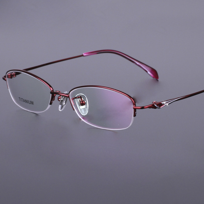 100% Pure Titan Eyeglasses Red Pink Purple Top Quality Gafas Women Titanium Glasses Frame(China (Mainland))