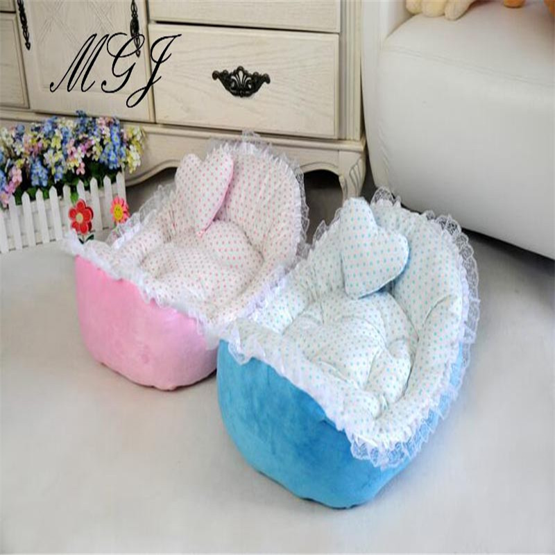 Dogs cats fashion princess Printing wave point lace ingot type house doggy autumn winter soft bed puppy kennels pet nest 1pcs(China (Mainland))