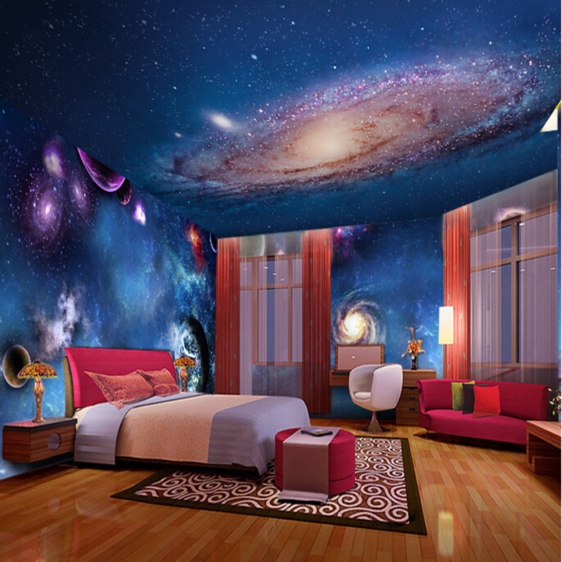 Wallpaper 3d stereoscopic star nebula night sky ceiling for Ceiling mural in a smoker s lounge