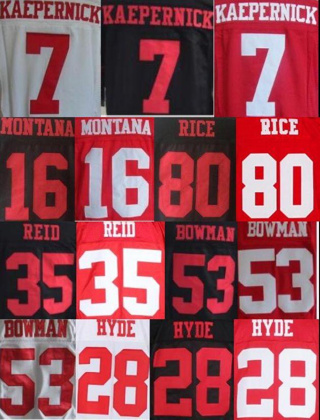 7 Colin Kaepernick NaVorro Bowman Jerry Rice joe montana 35 Eric Reid 28 Carlos Hyde stitched elite jersey(China (Mainland))