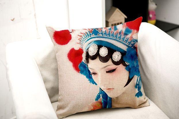 Decorative pillow cotton chinese cushion cover opera face pillowcase sofa throw pillow shabby chic home decor vintage linen 3pcs