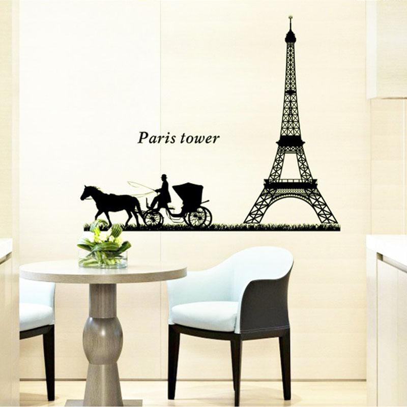 New Diy Wall Sticker Home Decor Paris Tower Eiffel Tower Carriage Luminous Paste Pvc Removable