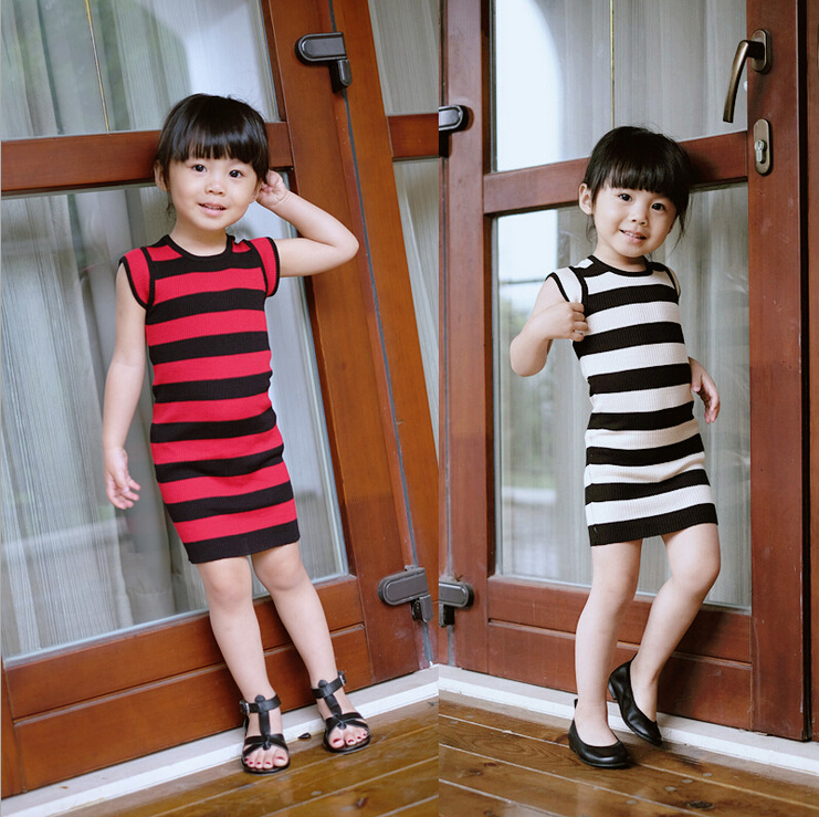 hot&new summer fashion straight dresses for girls shoulder sleeve striped pencil dress children knitted cotton kawaii clothes(China (Mainland))