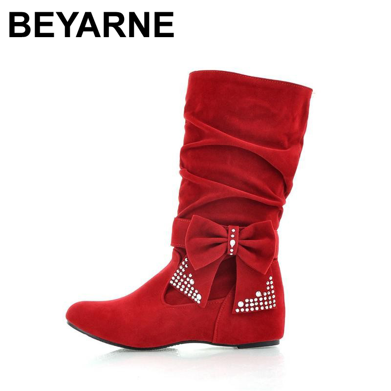 Big size 35-43 New lovely Style BIG Biwte Rhinestone Mid Calf Faux suede boots Flats women's shoes autumn short boots women 2027(China (Mainland))