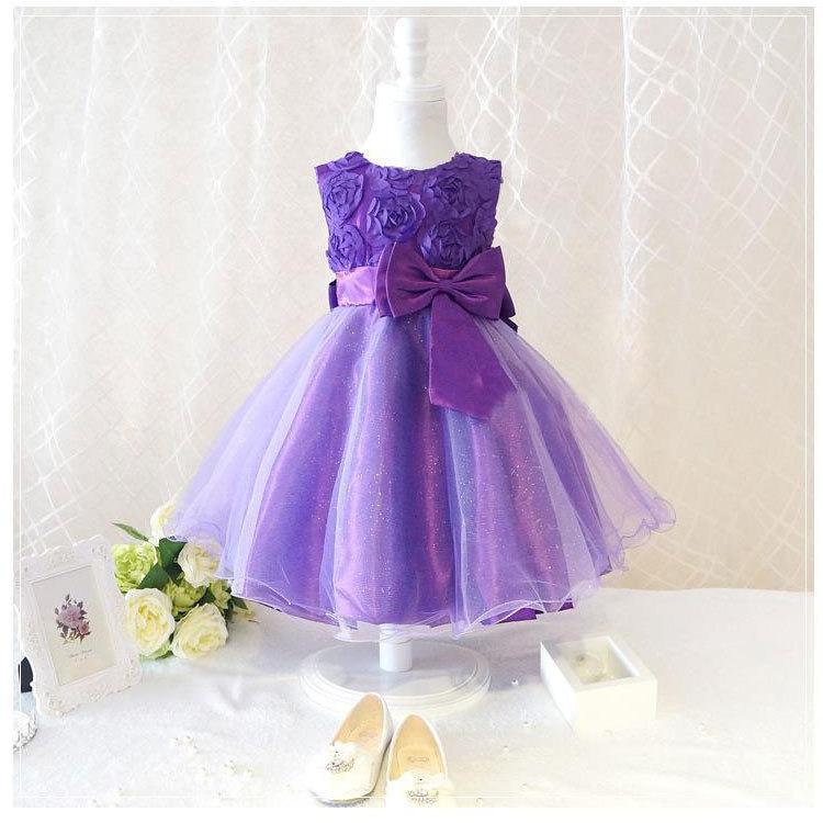 6 color girls party wear dress kids flower lace children girls ...
