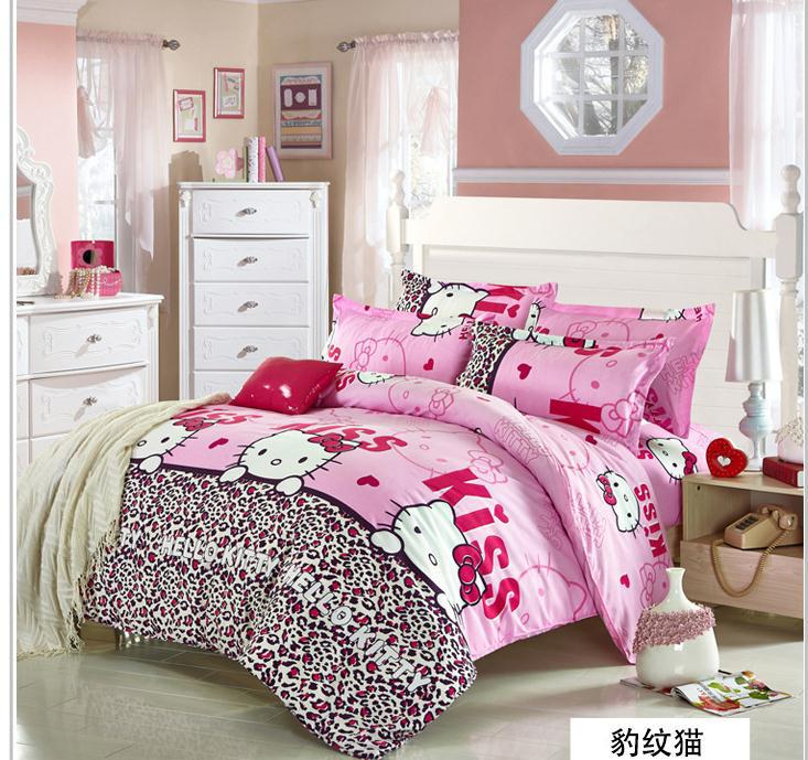 Hello Kitty bedding set Polyester / Cotton Christmas gift brand bed clothing comforter  bed set  cover linens duvet set kids(China (Mainland))