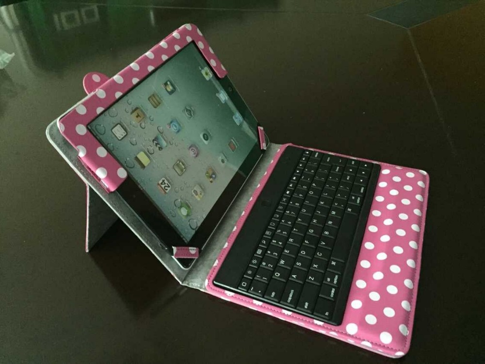 Bluetooth Keyboard Case for iPad 2 Apple New iPad 3rd 4th 2nd Wave point Stand Leather Folio Case Cover(China (Mainland))