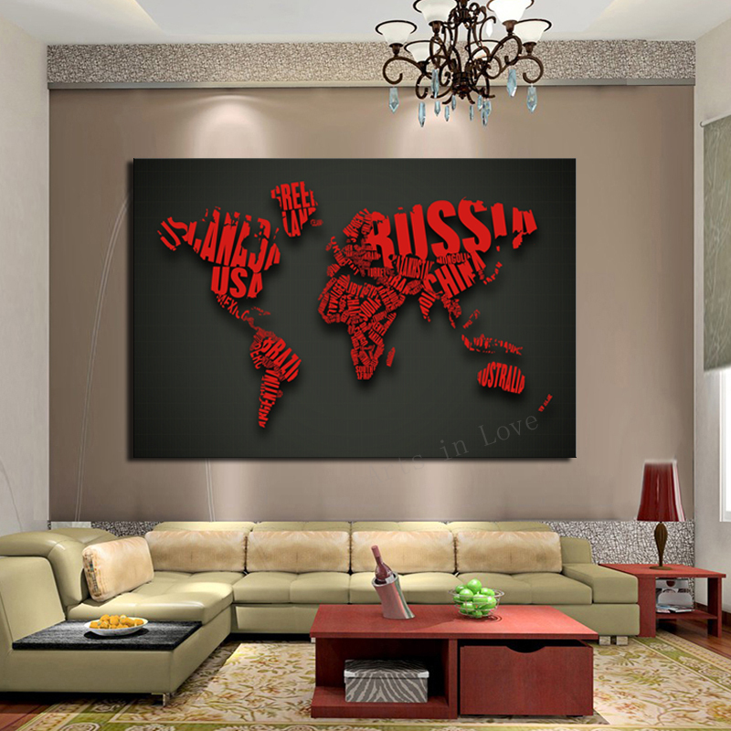 1 piece picture art red map modern home decoration for Piece of living room decor