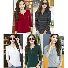 Basic T Shirt Women T-Shirt Long Sleeve Womens Tops 2016 Autumn New Fashion Buttonsl Cotton Tee Shirt Female T-shirts For Women(China (Mainland))