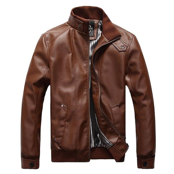 Korean Fashion Man Windproof Leather Jacket Large Size M-5XL Black & Brown Men's Clothing Mandarin Collar Men Casual Coats(China (Mainland))