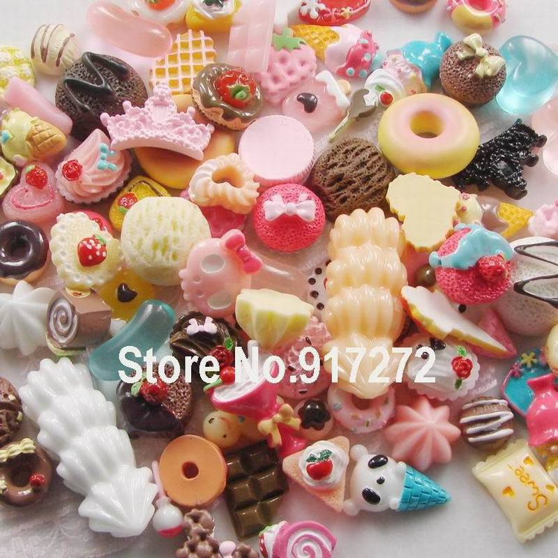 Free Shipping! Mix Cute Food, Resin Cabochon for Phone Deco, accessories for phones DIY(China (Mainland))