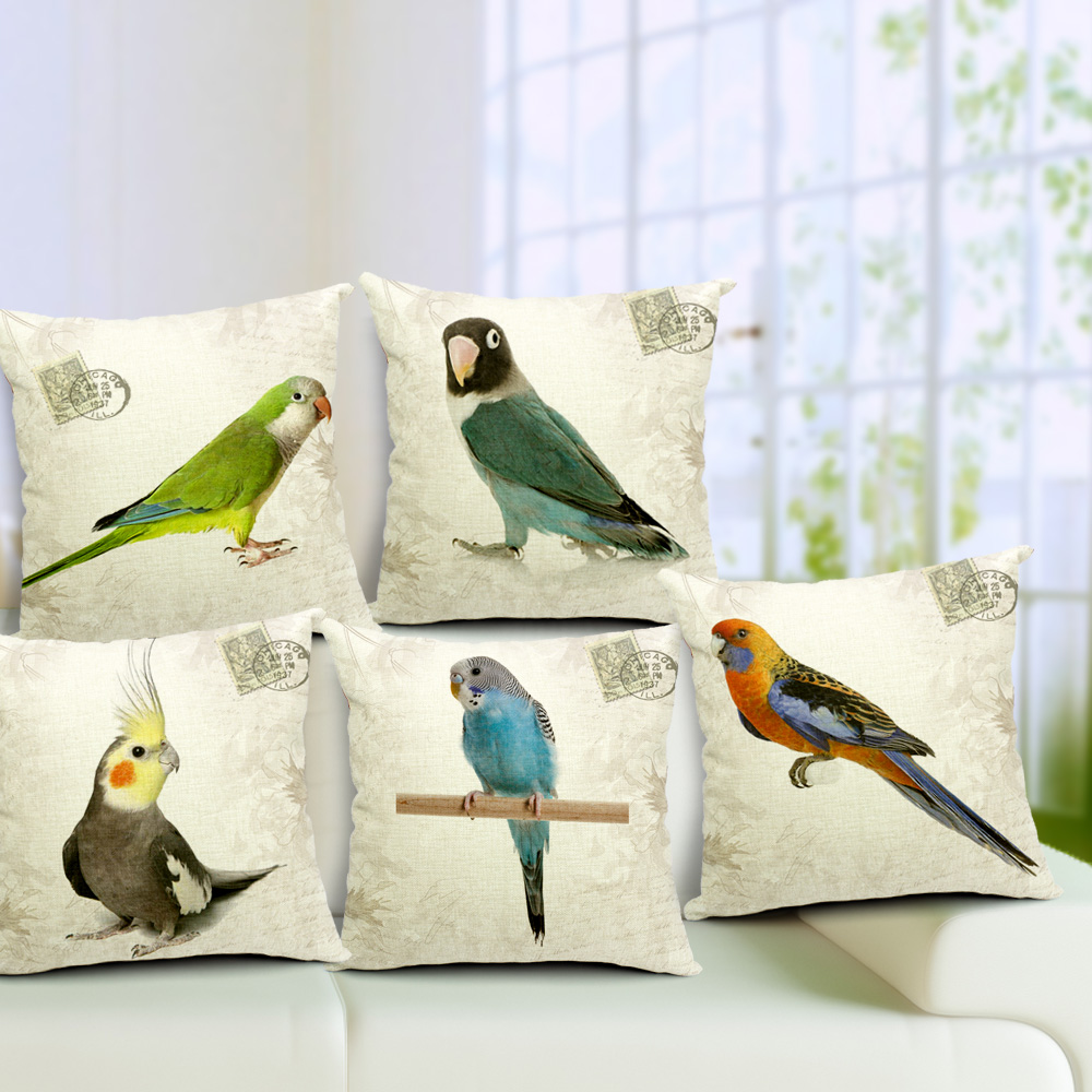 Vintage Stamp Style Colorful Parrot Bench Linen Cotton Fabric Sofa Car Bedding Home Decoration Pillow Cushion Covers 18''(China (Mainland))