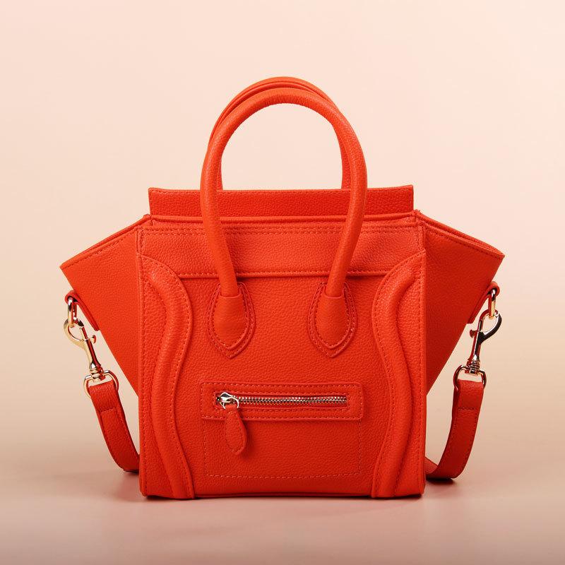 Orange Messenger Bags Women 2013 Fashion Vintage BagClutch Smiley Handbag One Shoulder Bag Messenger City Tote Bag Designer(China (Mainland))