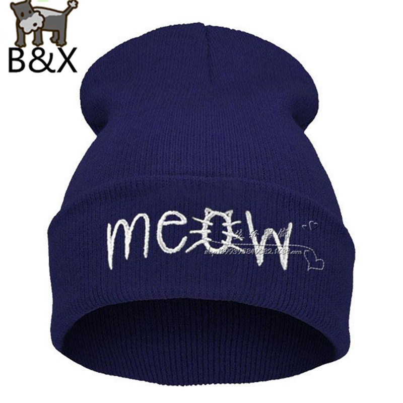 2014 New Beanies MEOW Hats Hip-Hop Cotton Knitted Hat Caps Casual Skullies Hip-hop London Men Women - bunny xie fashion items store