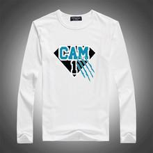 "Cam Newton Carolina ""Superman"" Jersey CREW Men t-shirt Man casual sport Long sleeve football t shirts Size 100% cotton(China (Mainland))"