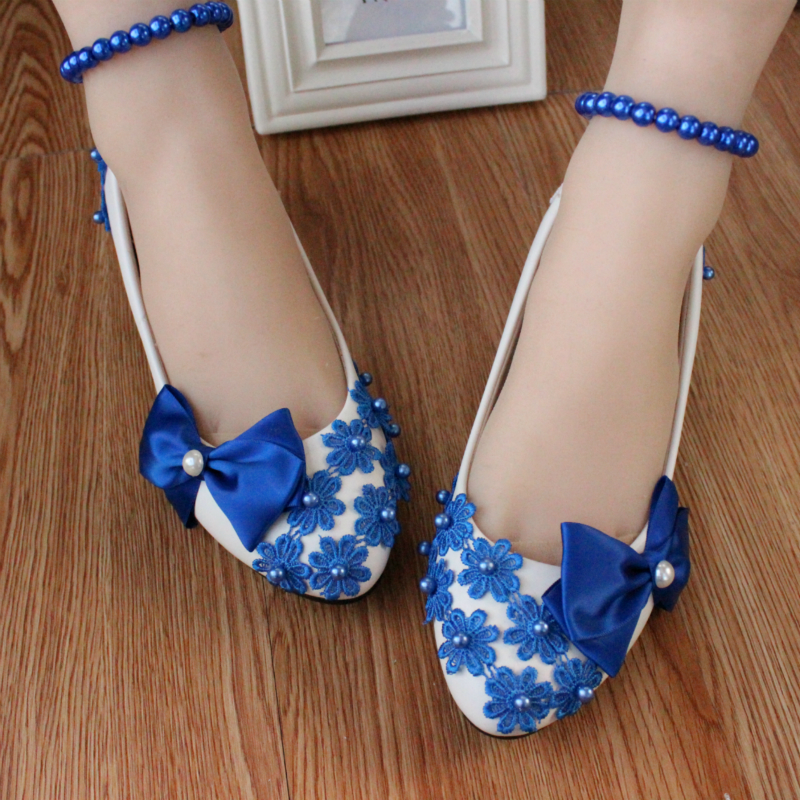 Wedding shoes 3cm/5cm/8cm heel white pearl bride bridesmaid performance blue bow formal dress shoes women pumps(China (Mainland))