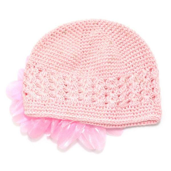 Cute Toddlers Girls Baby Beanie Hat Handmade Flowers Crochet Knitting Cap 1-2Y(China (Mainland))