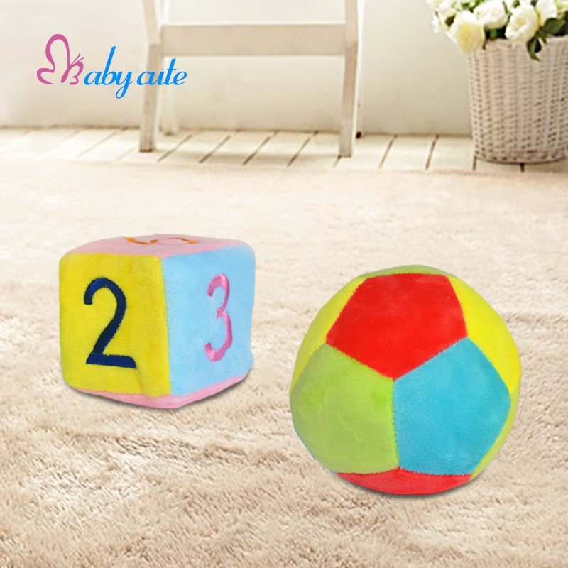 Baby Rattle Plush Toys Stroller Soft Brinquedo Little Loud Jingle Bell Ring 1pcs Cube+1pcs Ball Jouet 0-12 Month Kids Toys(China (Mainland))