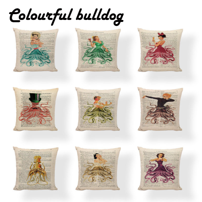 Printed Queen Cushion Covers Lip Retro Modern Girl Fundas De Almohadas Outdoor 17.7inch Newspaper Bench Seats Decorations Cojin(China (Mainland))