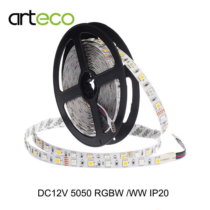 DC12V 5050 RGBW LED strip 60LEDs/m IP20 non-waterproof LED strip 5050 RGB W/WW.Free shipping(China (Mainland))
