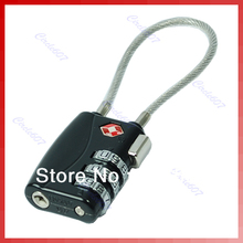 Free shipping TSA Resettable 3 Digit Combination Travel Luggage Suitcase Lock Padlock Black(China (Mainland))