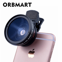 Buy ORBMART Universal Clip Professional HD Camera Lens Kit 0.45x Super Wide Angle Lens + 12.5x Super Macro Lens Mobile Phone Lense for $7.96 in AliExpress store