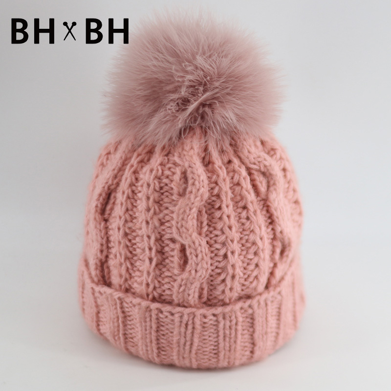 New pattern solid casual knit hat for lady warm crochet in autumn winter skullies&beanies women hat with soft Fur Pom BH-B2601(China (Mainland))