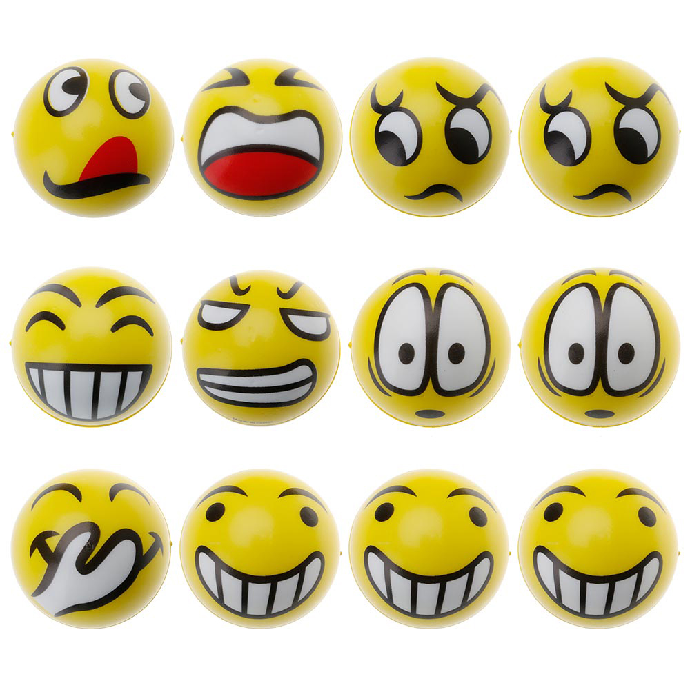 12Pcs Soft Fun Emoji Face Balls Stress Relax Emotional Toys Office Holiday Gifts(China (Mainland))