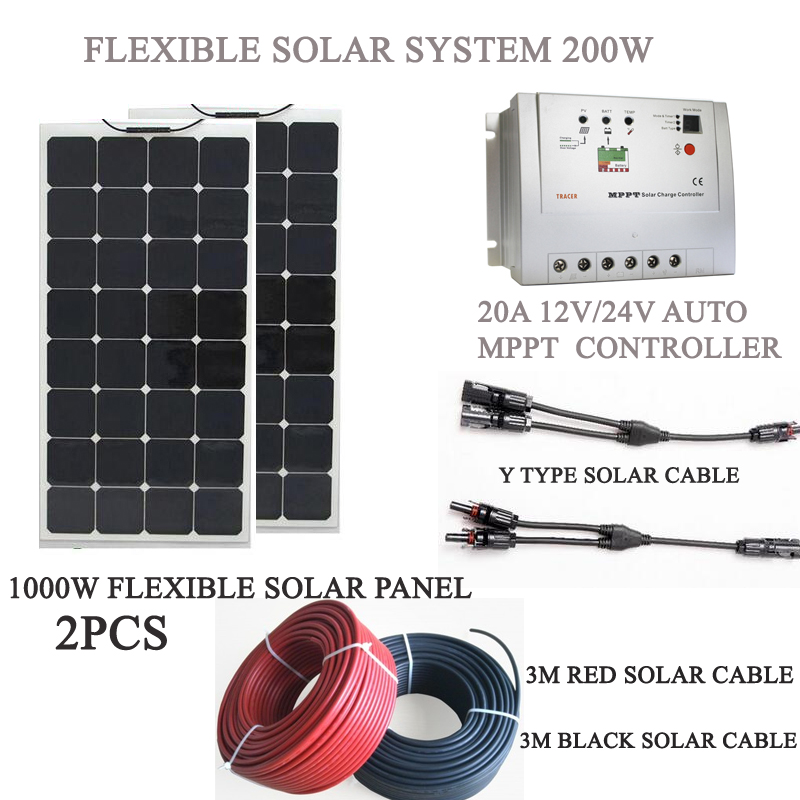 200w solar kit system; 2pcs flexible solar panel 100W; 20A mppt solar charge controller; Y branch solar cable with MC4 connector(China (Mainland))