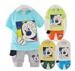 2015 New Kids Boy Clothes Sets Baby Boy Summer Clothing Set Shirt+shorts Kid Mickey Cartoon Summer Clothes(China (Mainland))
