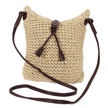 Small Woven Shoulder Bags Straw Summer Women Weave Crossbody Burlap Jute Pouches Beach Travel Handbag