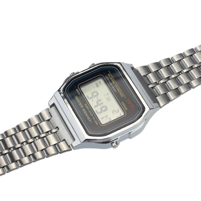 Factory price Vintage Womens Men Stainless Steel Digital Alarm Stopwatch Wrist Watch JUL13