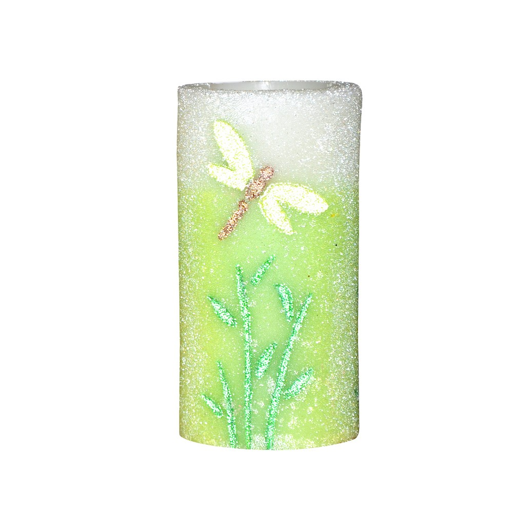 Home impressions Spring Flameless LED Candle with Timer, Embossed Green Dragonfly and work with 2 C Battery(China (Mainland))