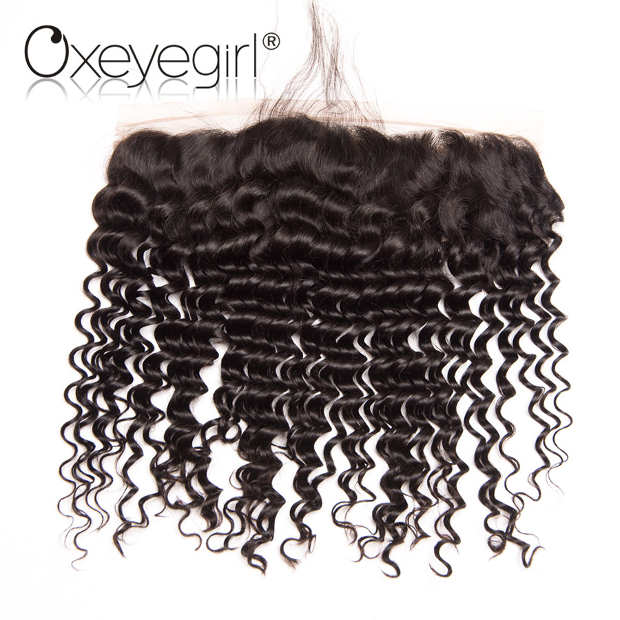 Oxeye girl 13×4 Lace Frontal Closure With Baby Hair Deep Wave Brazilian Remy Human Hair Closure Pre Plucked Natural Hairline