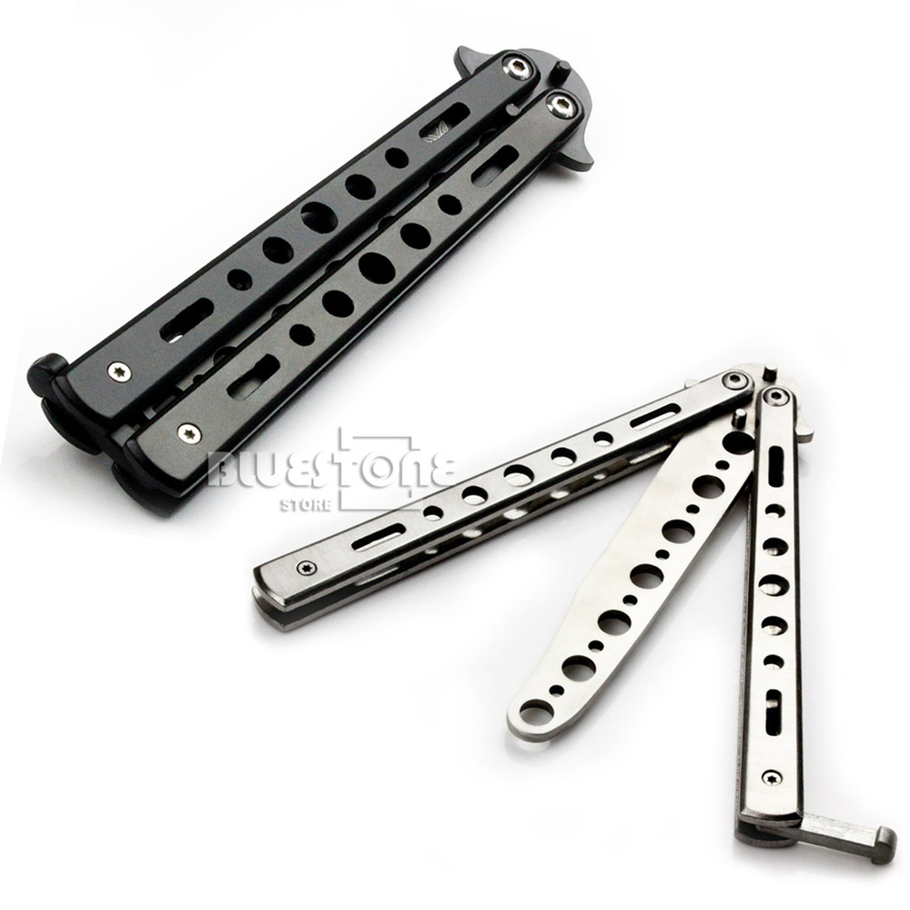 Butterfly Practice Training Knife Dull No Blade Tools Black Silver Color Primary Exercise Knifes Free Shipping