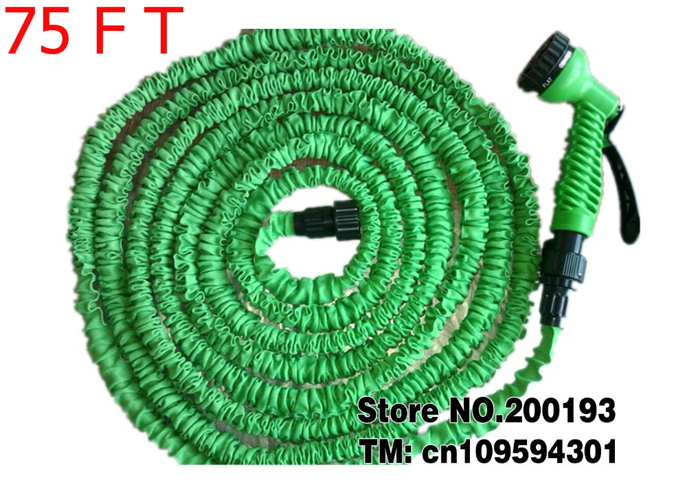 Cheap Price and Products After Stretched Working Lenght Plastic Connector 75FT GREEN Garden Water Hose+Spray Gun(China (Mainland))