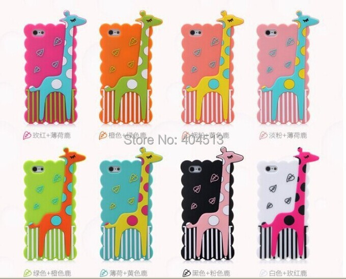 New Arrive Fashion Cartoon Giraffe phone shell Silicone Rubber Back Cover Phone Case For Apple iPhone 6 Free Shipping(China (Mainland))