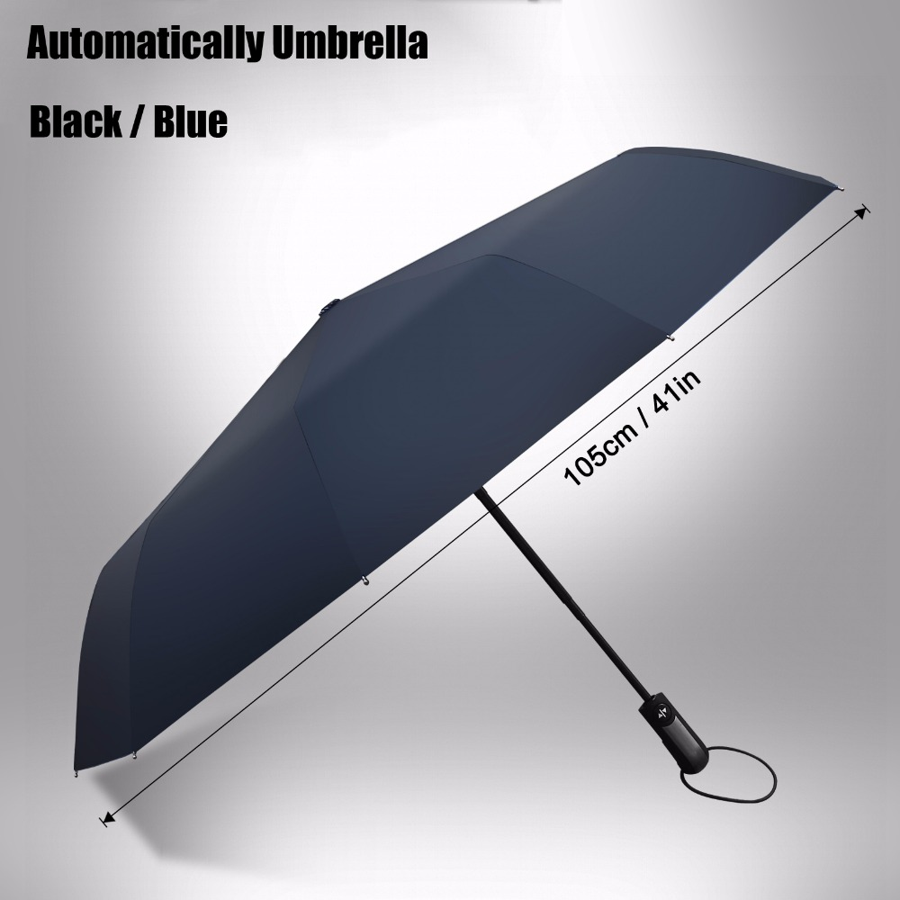 Automatic Folding Umbrella 10-Rib Strong Windproof Super Wide 46 Inch Outdoor Leatheroid Handle Black Blue Rain Umbrellas(China (Mainland))