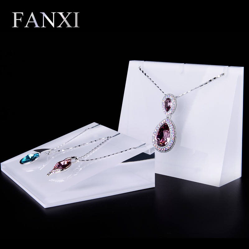 FANXI free shipping Transparent acrylic jewelry holder for shop counter decoration Plexiglass necklace stands(China (Mainland))