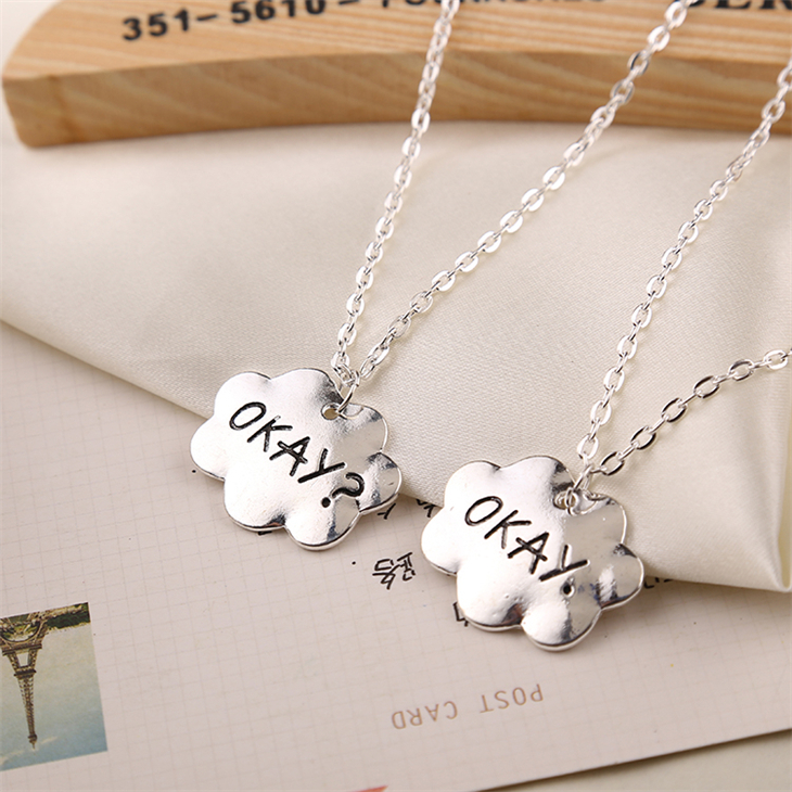 the fault in our stars necklace OKAY jewelry vintage silver gold cloud friendship pendant for men women lover couple wholesale(China (Mainland))