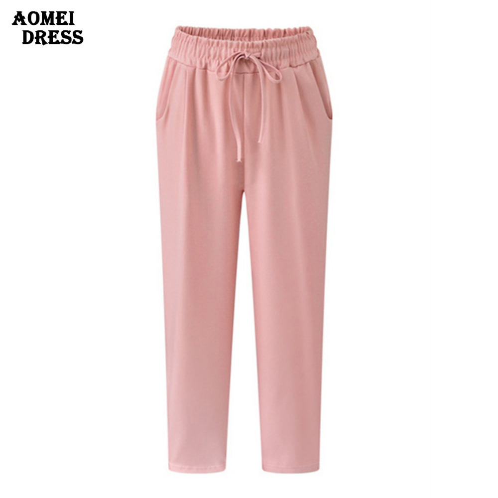 Girl Casual Harem Pants Pink Black Solid Color Slim Pocket Drawstring Ankle Length Pants Plus Size XXL Fitness Women Clothings(China (Mainland))