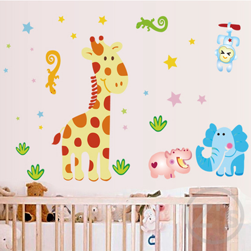 Cartoon giraffe wall stickers for nursery baby room for Baby room decoration wall stickers