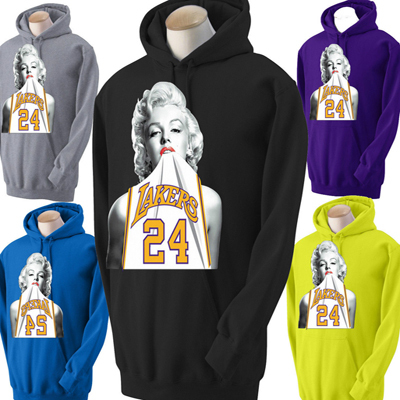 FUNNY MEN'S HOODIES NEW MARILYN MONROE LAKERS HOODIE WEARING KOBE JERSEY PULLOVER PLUS SIZE s-3xl(China (Mainland))